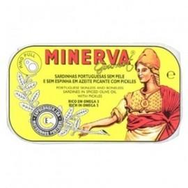 Imagens Sardinhas Minerva sem Pele sem Espinhas em Azeite Picante com Pickles 120g