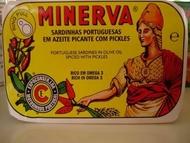 Minerva Sardinhas sem Pele sem Espinhas em Azeite Picante com Pickles 120g