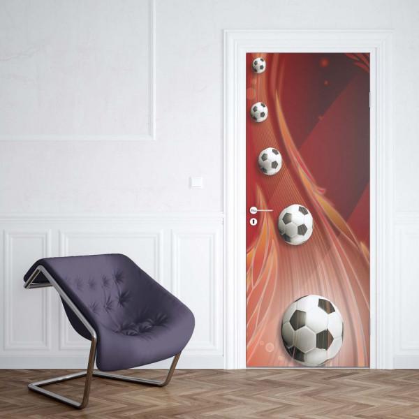 3D Footballs Red Background - Fototapet