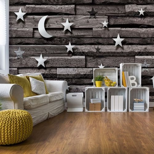 3D Stars And Moon Wood Plank Texture Grey Photo Wallpaper Wall Mural