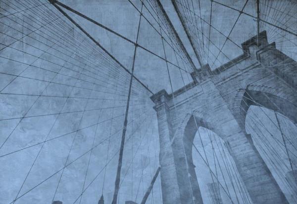 Brooklyn Bridge Grunge Blue