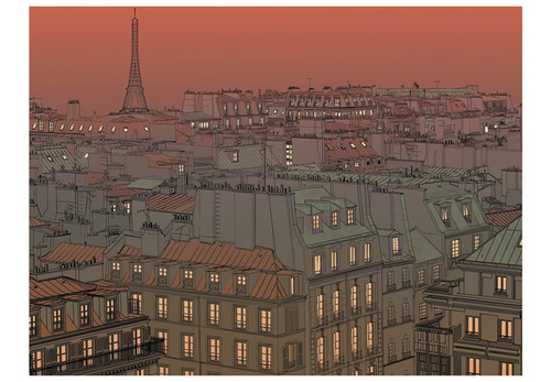 Poze Fototapet - Afterglow over Paris