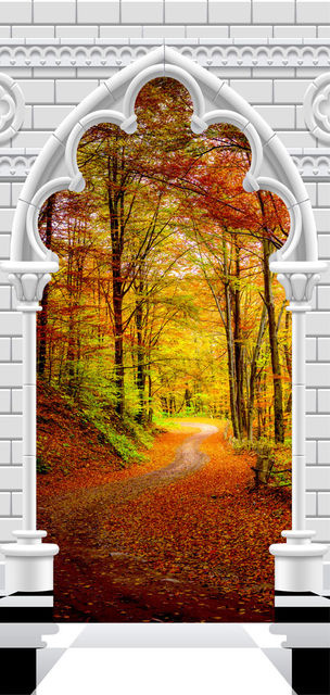 Fototapet pentru ușă - Photo wallpaper - Gothic Arch and forest in atumn I
