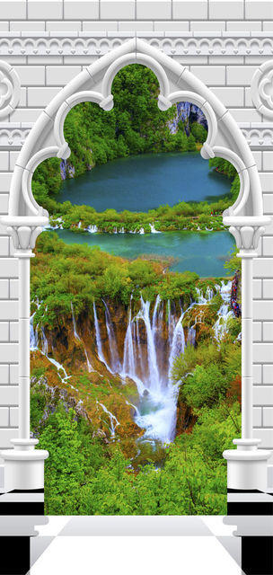 Fototapet pentru ușă - Photo wallpaper - Gothic arch and waterfall I