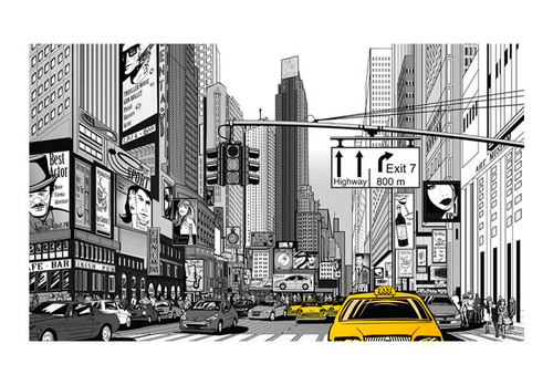 Fototapet - Yellow cabs in NYC