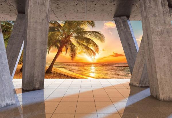 Sunset Tropical Beach 3D Modern View Concrete Photo Wallpaper Wall Mural