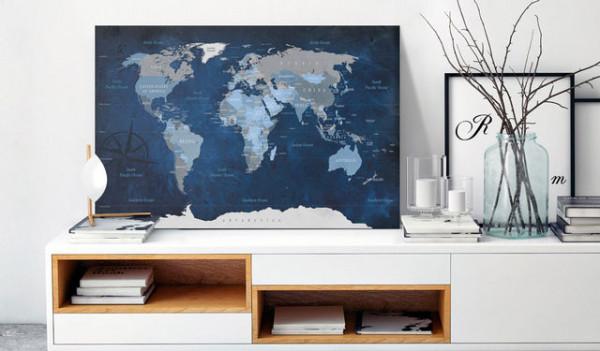 Tablou din plută - Dark Blue World [Cork Map]