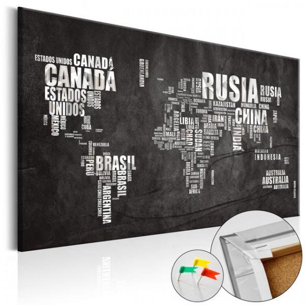 Tablou din plută - Mundo Negro [Cork Map]