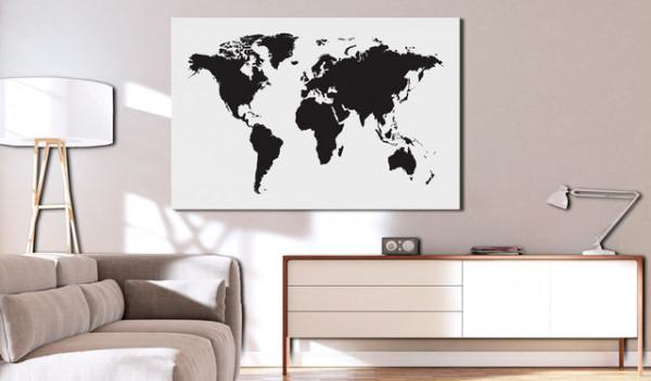 Tablou din plută - World Map: Black & White Elegance [Cork Map]