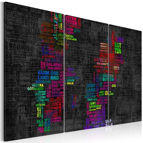 Poze Tablou - Map of Sweden (colored names of cities) - triptych