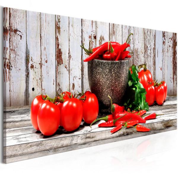 Tablou - Red Vegetables (1 Part) Wood Narrow