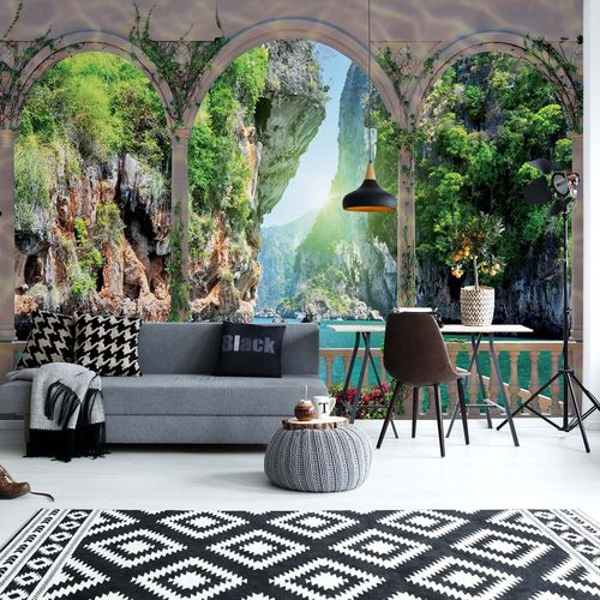 Tropical Lagoon View Through Arches Photo Wallpaper Wall Mural