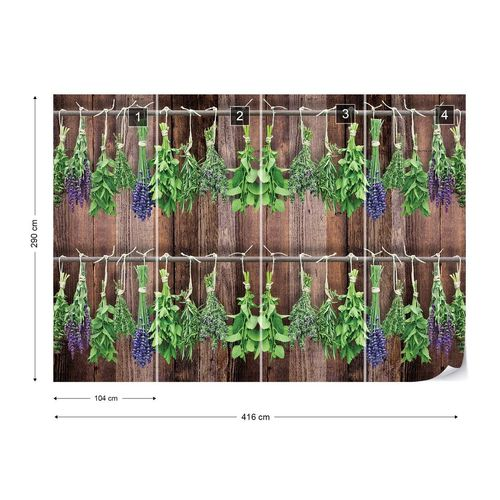 Vintage Chic Wood Planks And Herbs Photo Wallpaper Wall Mural