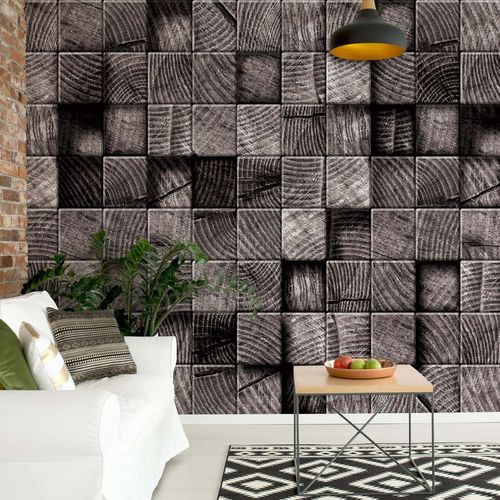 3D Wooden Blocks Texture Black And White Photo Wallpaper Wall Mural