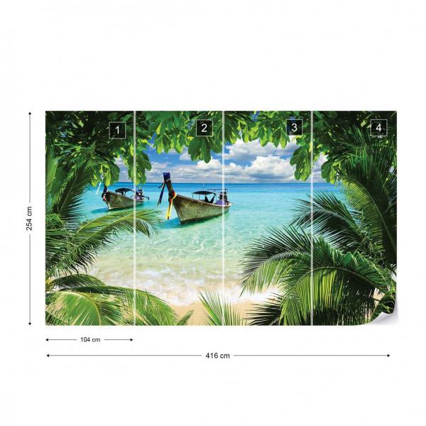 Beach Tropical Paradise Boat Photo Wallpaper Wall Mural