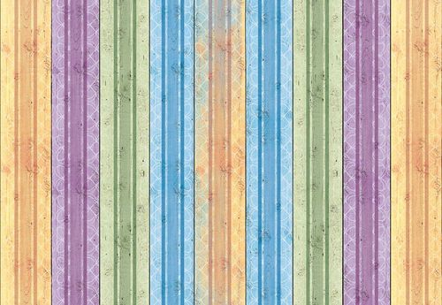 Colourful Wooden Planks Photo Wallpaper Wall Mural