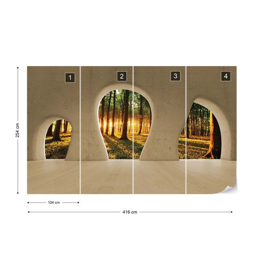Forest Sunrise 3D Concrete Arches View Photo Wallpaper Wall Mural