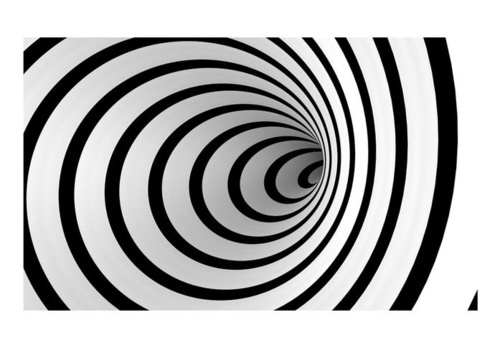 Poze Fototapet - Black and white 3D tunnel