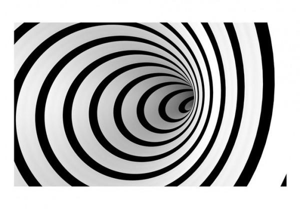Fototapet - Black and white 3D tunnel