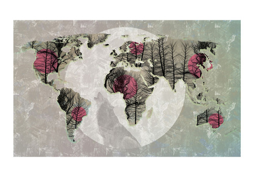 Fototapet - Map of the World - Howling to the moon