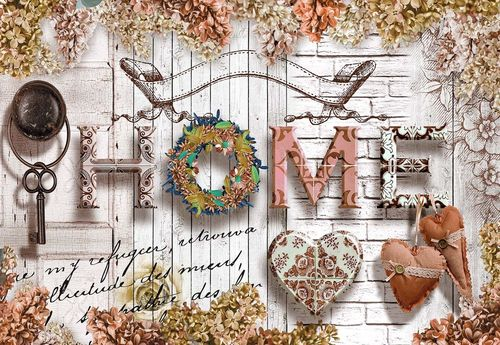 Home Flowers Vintage Farmhouse Chic Photo Wallpaper Wall Mural