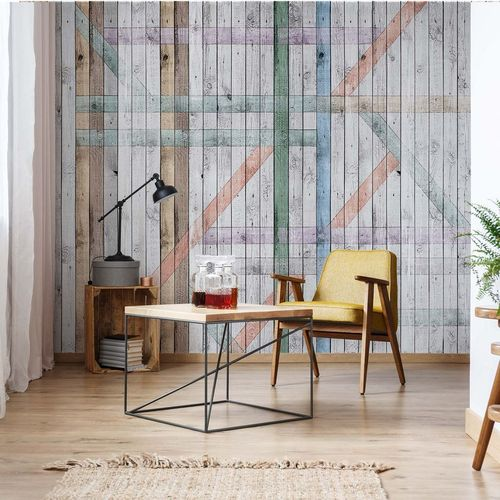 Painted Wood Planks Rustic Photo Wallpaper Wall Mural