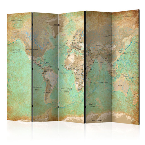 Poze Paravan - Turquoise World Map  [Room Dividers]