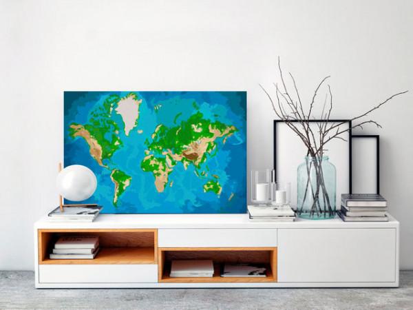 Pictatul pentru recreere - World Map (Blue & Green)