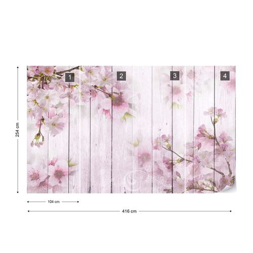 Vintage Chic Cherry Blossom Flowers Wood Planks Pink Photo Wallpaper Wall Mural