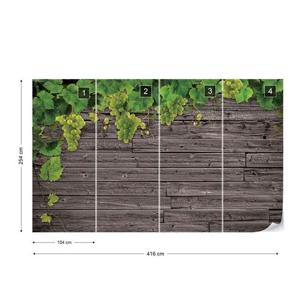 Wood Texture Grapes Vines Photo Wallpaper Wall Mural