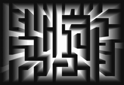 3D Geometric Black And White Maze Photo Wallpaper Wall Mural