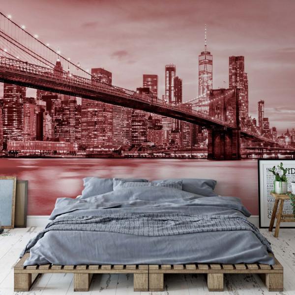 Brooklyn Bridge NYC in Red