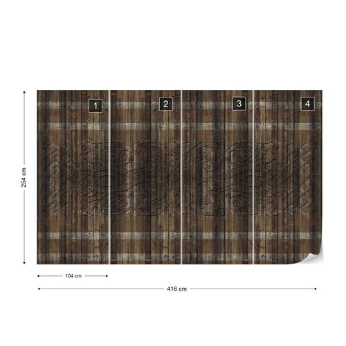 Dark Wood Planks Pattern Photo Wallpaper Wall Mural