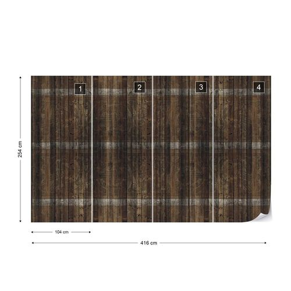 Dark Wood Planks Photo Wallpaper Wall Mural