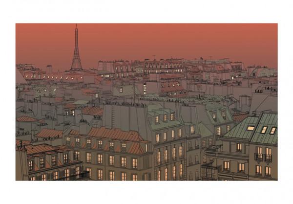 Fototapet - Afterglow over Paris
