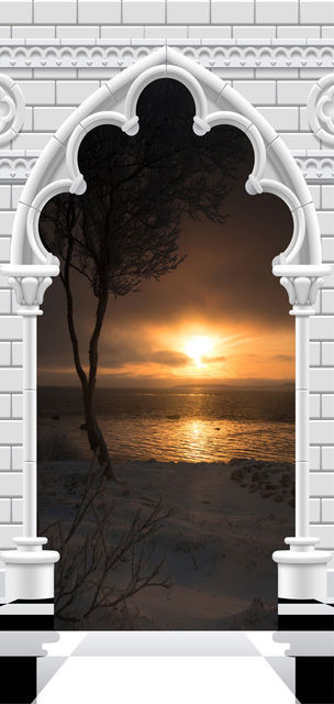 Fototapet pentru ușă - Photo wallpaper - Gothic arch and sunset I