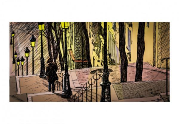 Fototapet XXL - Lonely walk through Montmartre