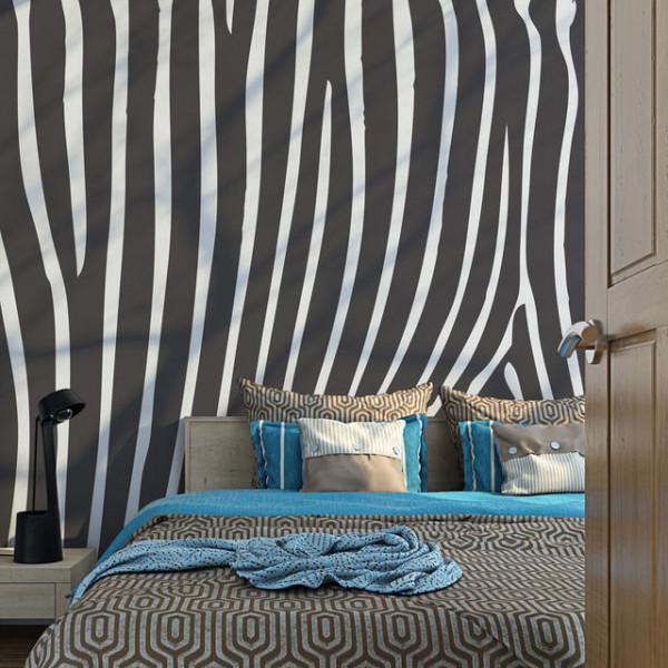 Fototapet - Zebra pattern (black and white)