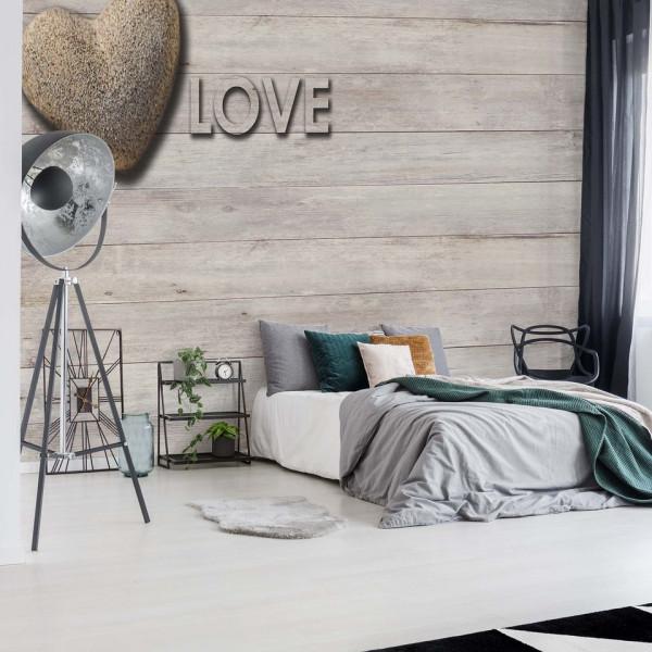 "Heart Wood Planks ""Love"" Photo Wallpaper Wall Mural"