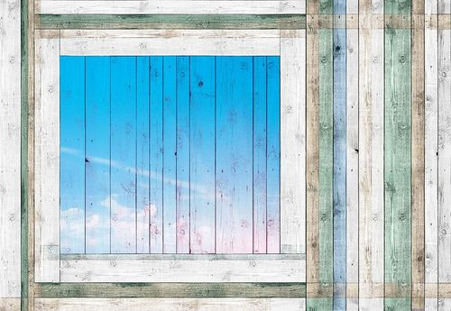 Painted Wood Planks Blue Window Photo Wallpaper Wall Mural