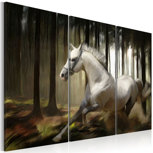 Tablou - A white horse in the midst of the trees