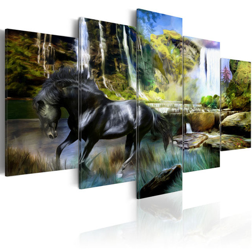 Tablou - Black horse on the background of paradise waterfall