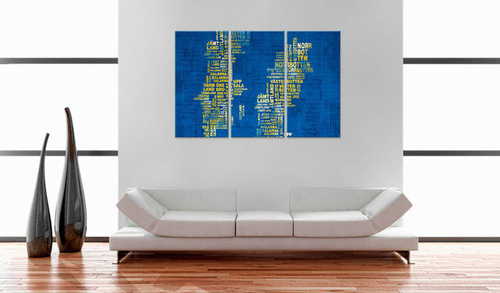 Poze Tablou - Text map of Sweden (blue background) - triptych
