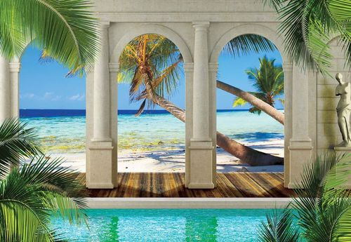 Tropical Beach 3D Archway View Photo Wallpaper Wall Mural