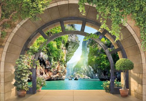Tropical Lagoon Archway View Photo Wallpaper Wall Mural