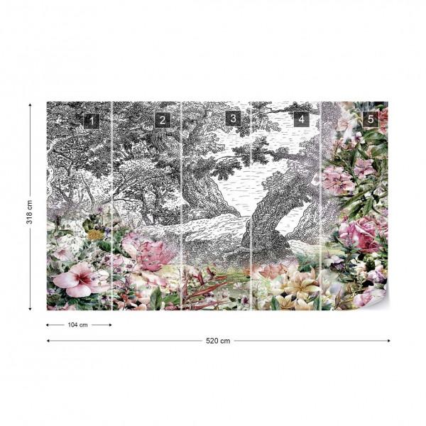 Vintage Floral Design Photo Wallpaper Wall Mural