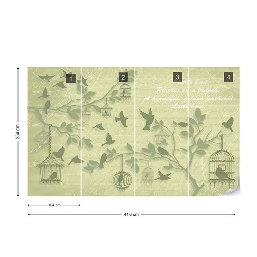 Cherry Blossom And Birds Vintage Design Green Photo Wallpaper Wall Mural