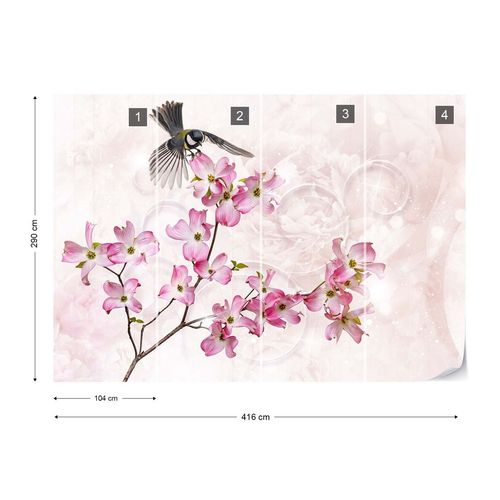 Flowers Bird Vintage Chic Pink Photo Wallpaper Wall Mural