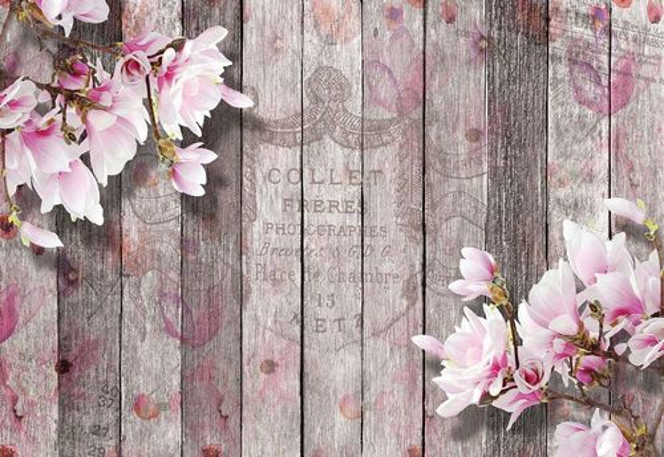 Flowers Vintage Script Rustic Wood Planks Photo Wallpaper Wall Mural