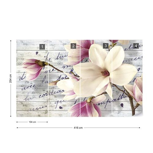 Magnolia Flowers Vintage Script Wood Texture Photo Wallpaper Wall Mural